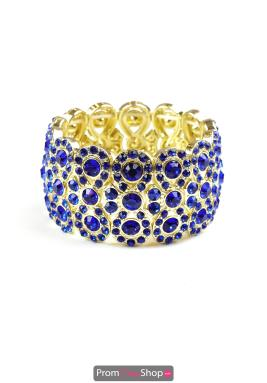 Royal Blue Gold Figure 8 Stretchable Bracelet
