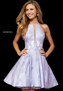 021cea98a1f Sherri Hill Short Dress 52178. Black  Ivory  Light Blue ...