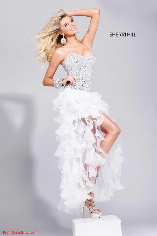 White And Silver High Low Prom Dresses 12